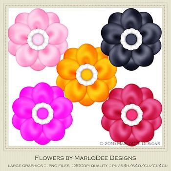 Bright Colors Digital Flower Graphics