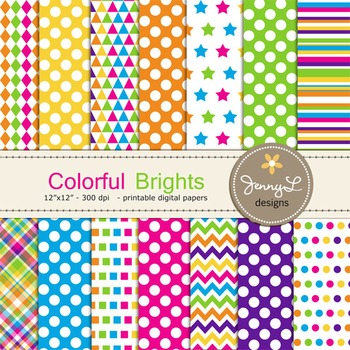 Bright Colors Digital Papers