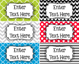 Bright Colors Editable Book and Binder Holder Labels