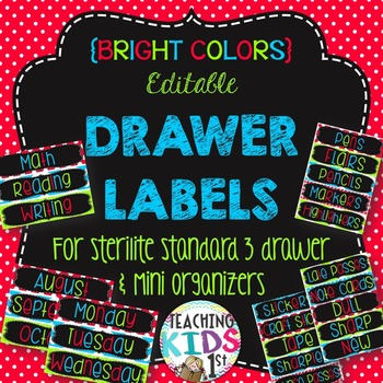 {BRIGHT COLORS} Editable Drawer Labels + Mini Drawer Labels