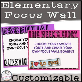 Bright Colors Editable Focus Wall GROWING BUNDLE