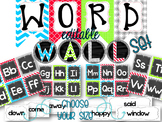 {BRIGHT COLORS} Word Wall Set with Editable Word Cards