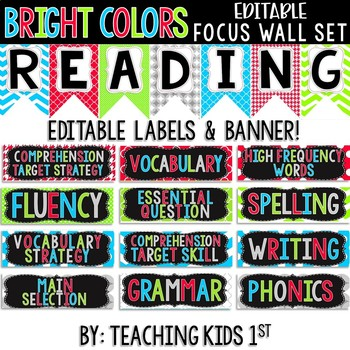 {BRIGHT COLORS} Focus Wall Set Banners & Editable Labels