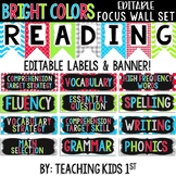 {BRIGHT COLORS} Focus Wall Set with Editable Banner & Labels