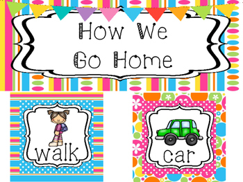 Bright Colors How We Go Home Printable Chart. Classroom  M