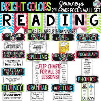 {BRIGHT COLORS} Journeys 2nd Grade Focus Wall Set + Editable Labels