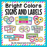 Bright Colors Labels and Signs - Classroom Decor