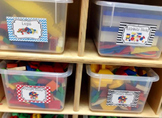 Bright Colors Math Bin Labels with Pictures