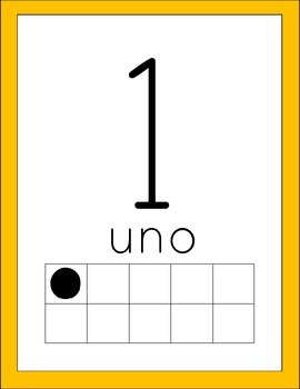 Bright Colors Number Cards - Spanish