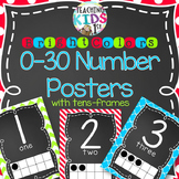 {BRIGHT COLORS} Number Posters 0-30 with tens-frames