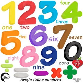 Bright Colors Numbers Clipart {Best Teacher Tools} AMB-1866