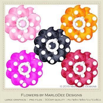 Bright Colors Polka Dot Pattern Digital Flower Graphics