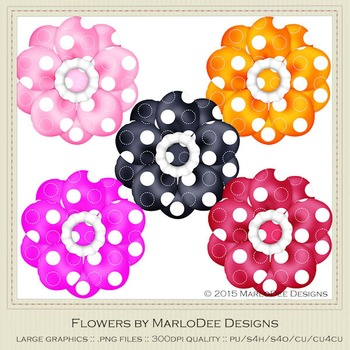 Bright Colors Polka Dot Pattern Digital Flower Graphics