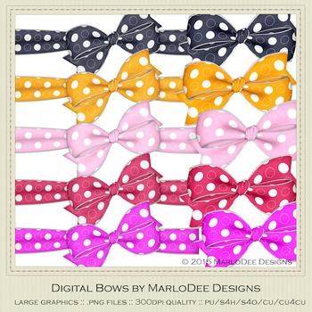 Bright Colors Polka Dot Patterns Digital Bow Graphics
