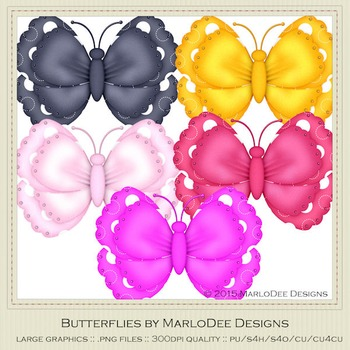 Bright Colors Polka Dot Patterns Digital Butterfly Graphics