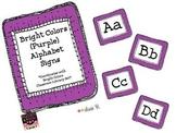 Bright Colors Purple Alphabet Cards