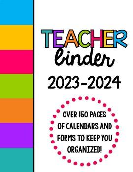 Bright Colors Teacher Binder Organization Bundle w/ Editable Binder Covers