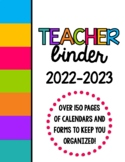 Bright Colors Teacher Binder Organization Bundle w/ Editable Binder Covers