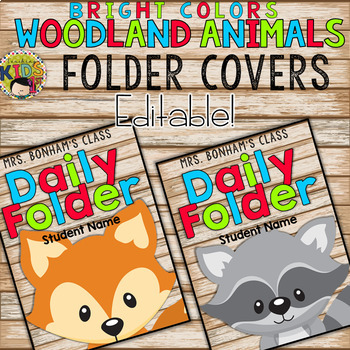 Bright Colors Woodland Animals Editable Folder Binder Cover