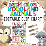 Bright Colors Woodland Animals Editable Friday Fun Center Clip Chart