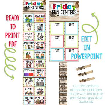 Bright Colors Woodland Animals Editable Friday Fun Center Clip Chart