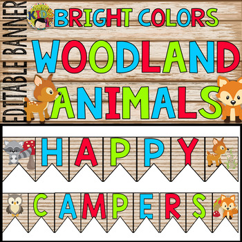 "Bright Colors Woodland Animals ""HAPPY CAMPERS"" Banner Editable"