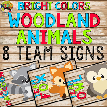 Bright Colors Woodland Animals Team Signs