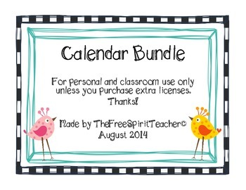 Bright Colors and Birds Calendar Kit