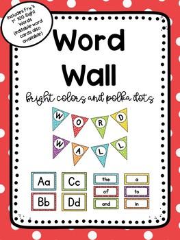 Polka Dots Editable Word Wall Set