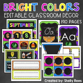 Classroom Decor Bright on Chalkboard Classroom - EDITABLE Decor