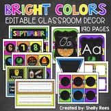 Chalkboard Brights Classroom Decor - EDITABLE Chalkboard Classroom Decor