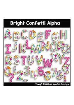Bright Confetti Alpha Clipart Collection
