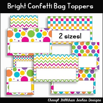 Bright Confetti Bag Topper Printables