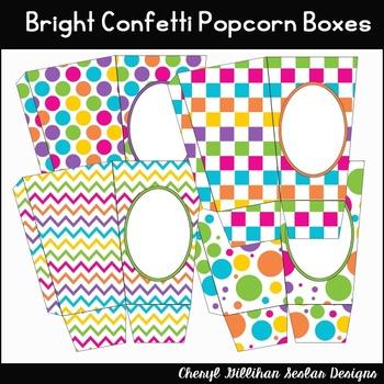 Bright Confetti Popcorn Boxes Printables