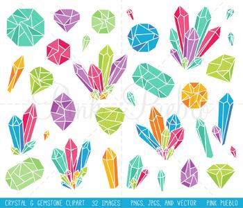 Bright Crystal Clipart, Crystal Clip Art, Gemstone Clipart, Gemstone Clip Art