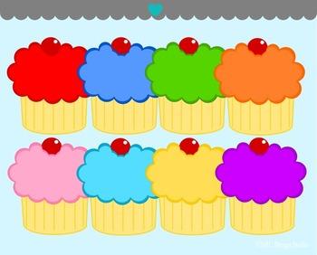 Bright Cupcakes Clip Art