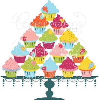 Bright Cupcakes and Cake Stand by Poppydreamz