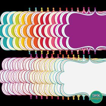 Digital Frame Set- Bright Curly Frames #4