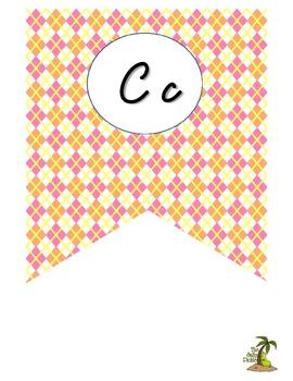 Bright Cursive Alphabet Pennant Banner
