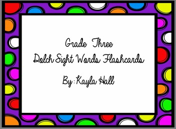 *Bright* Cute Multicolored Polka Dot 3rd Grade Dolch Sight Word Flashcards