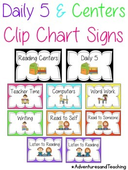 Bright Daily 5 Reading Center Clip Chart {Simple}