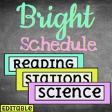 BRIGHT Daily Schedule Cards //// Editable //// 60+