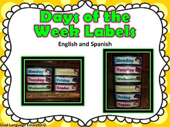 Bright Days of the Week Editable Labels