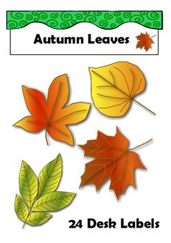 Bright Desk Labels Autumn Leaves Desk Tags Locker Labels