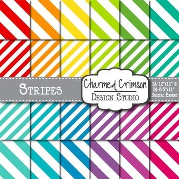 Bright Diagonal Stripe Digital Paper 1001