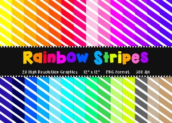 Bright Digital Paper Pack in Rainbow Small Stripes