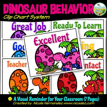 Behavior Chart System - {Dinosaur Themed} - Bright Background