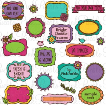 Bright Doodle Frames Clip Art - Commercial and Personal Use