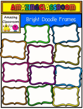 Bright Doodle Frames Clipart - 24 Frames!