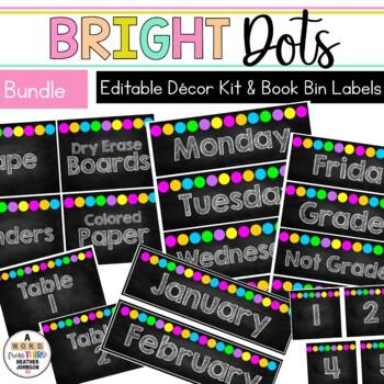 Bright Dots Classroom Decor & Book Bin BUNDLE